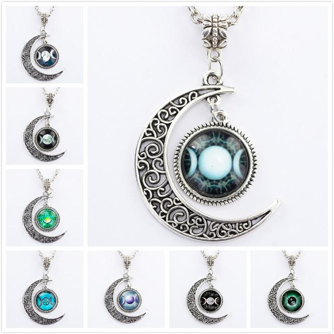 Triple Moon Pendant Pentacle Planet Necklace Wiccan Jewelry Glass Dome Chain Hollow Pattern Necklaces