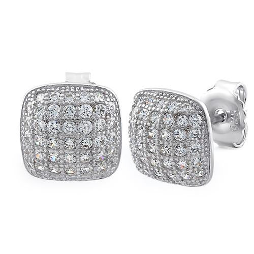 SILVER CUSHION STUD EARRING