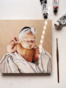 baby portrait painting-wooden canvas-8x8in-Keona Elise
