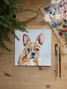 gouache pet portrait-Portraits-watercolor paper-1 portrait-8x8-Keona Elise