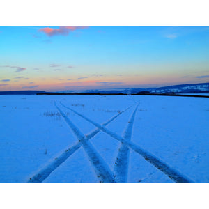 Snow tracks in the Peak District