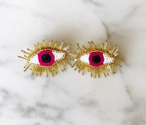 Fuchsia Beaded Eye Earrings