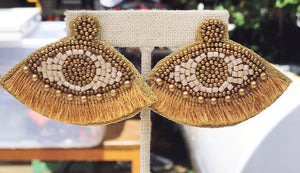 Beaded Eye Fringe Earrings - Gold