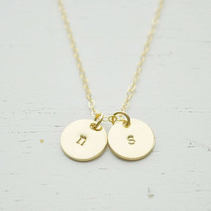Gold Double Disc Initial Necklace