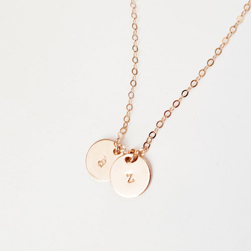Rose Gold Double Disc Initial Necklace