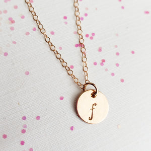 Rose Gold Disc Initial Necklace - 9.5 mm