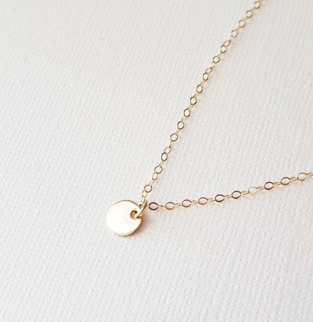 Tiny Gold Disc Necklace - smooth