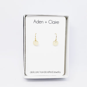 Tiny Gold Disc Earrings - smooth