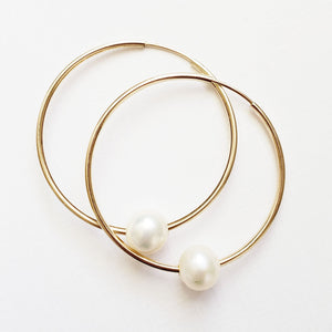 Gold Hoop Pearl Earrings - ivory