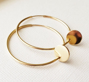 Smooth Gold Disc Hoop Earrings