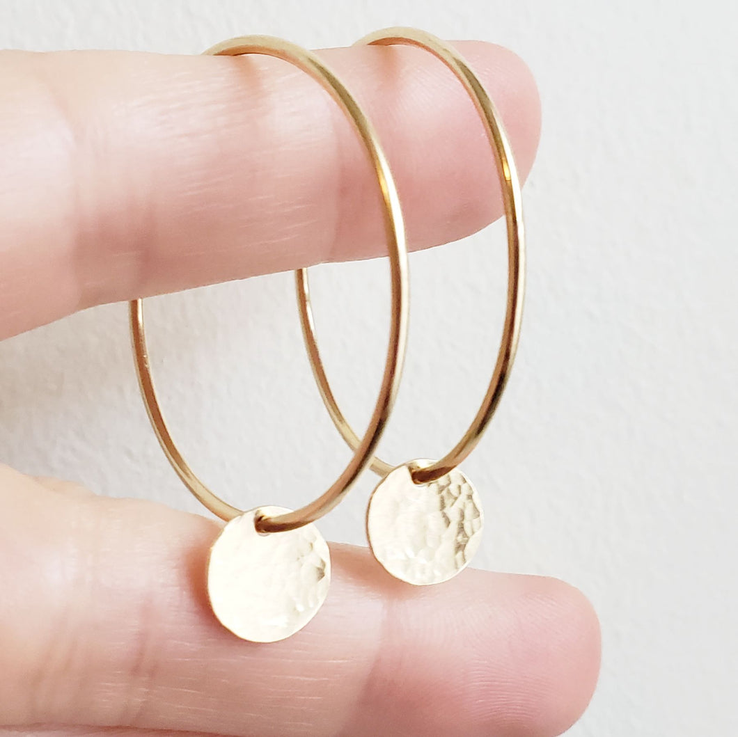 Hammered Gold Disc Hoop Earrings
