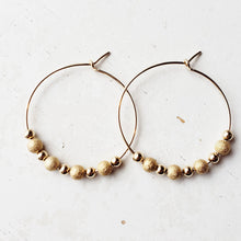 Stardust Beaded Gold Hoop Earrings