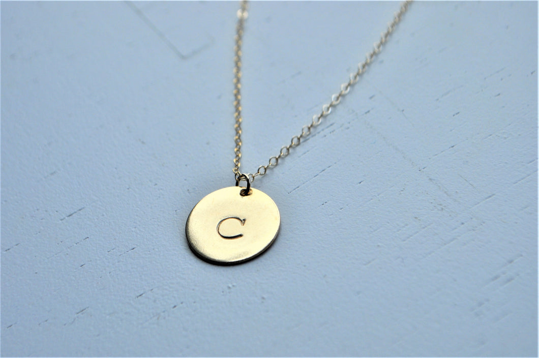 Disc Initial Necklace - 5/8 inch - 14k gold filled / 14k rose gold filled / sterling silver