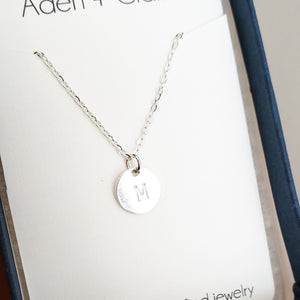 Sterling Silver Disc Initial Necklace