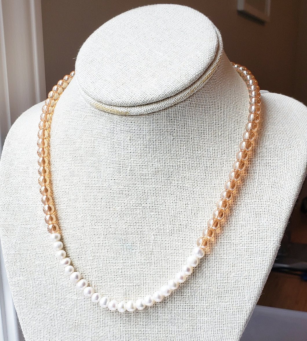 Peach + Ivory Pearl Necklace