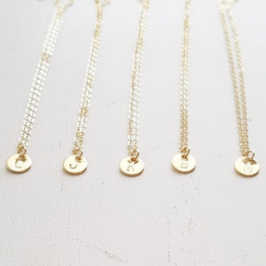 Tiny Gold Disc Initial Necklace