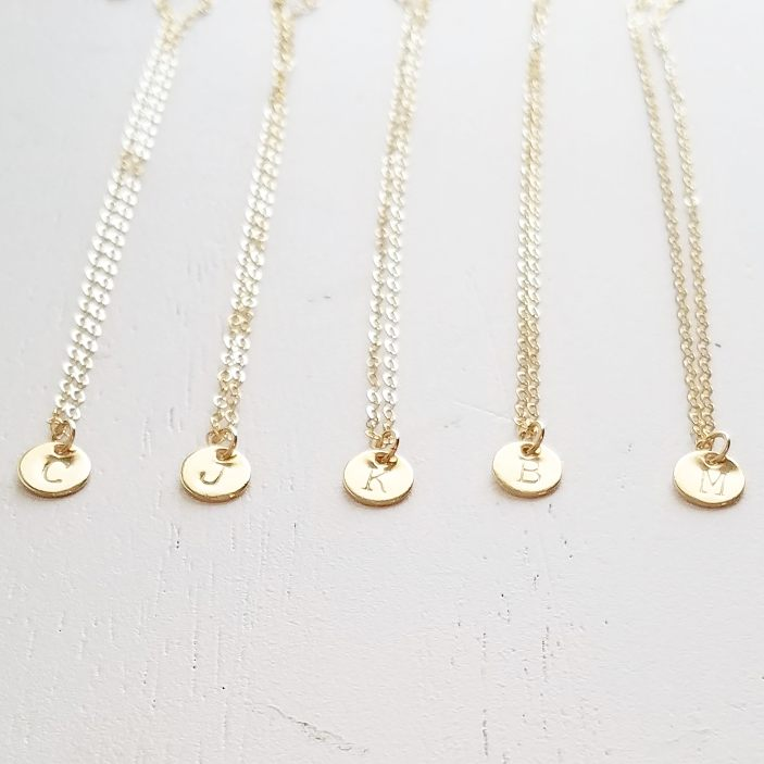 Tiny Gold Disc Initial Necklace 14k gold filled Aden Claire