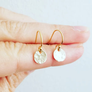Tiny Gold Disc Earrings - hammered