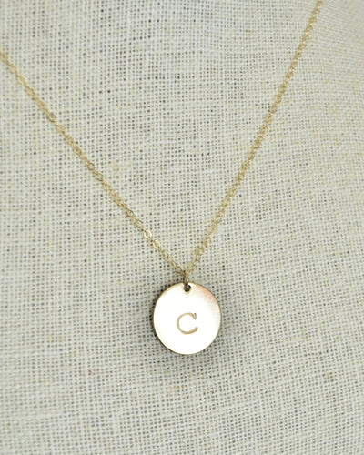 Gold Disc Initial Necklace - 5/8 inch in gold filled / rose gold filled / sterling silver