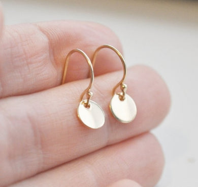 Tiny Gold Disc Earrings