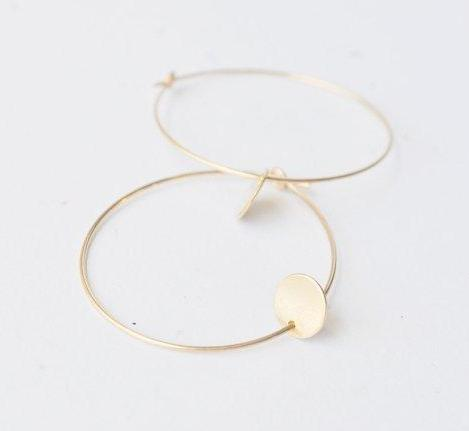 Gold Hoop Earrings with Tiny Gold Discs