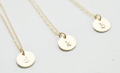 Gold Disc Initial Necklace - 9.5 mm
