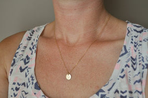 Gold Initial Necklace - 9.5 mm disc