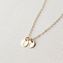 Two Tiny Gold Discs Initial Necklace