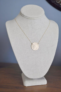 Extra Large Hammered Gold Disc Necklace