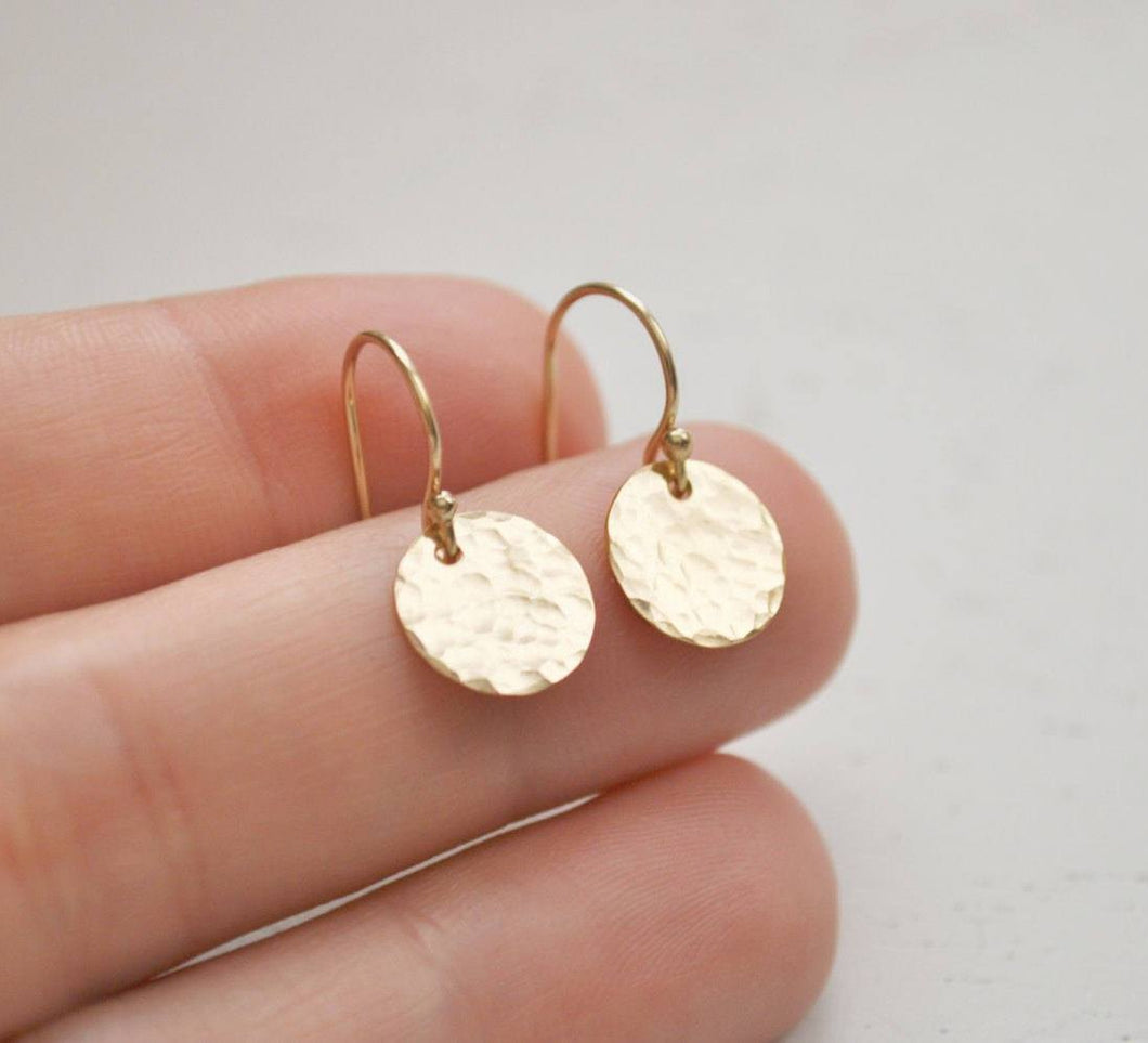 Gold Disc Earrings - hammered