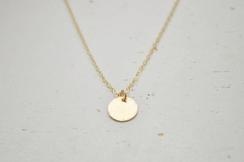 Gold Disc Necklace - small hammered