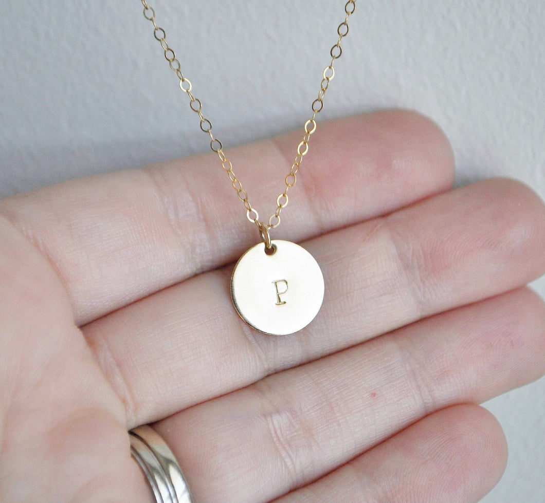 Gold Disc Initial Necklace - 1/2 inch