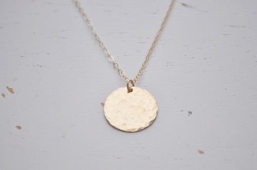 Gold Disc Necklace - large hammered