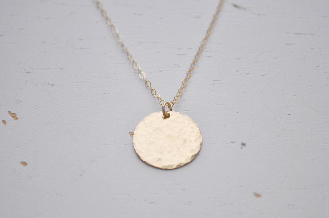 Large Hammered Gold Disc Necklace