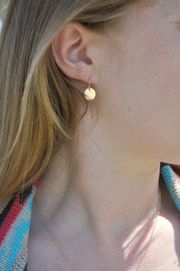 Gold Disc Earrings - hammered gold filled 9.5 mm