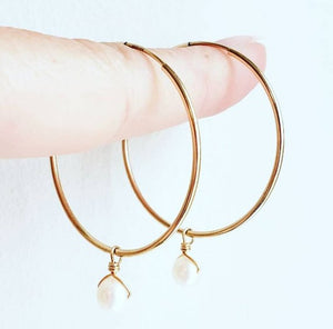 Gold Hoop Earrings with pearl drops