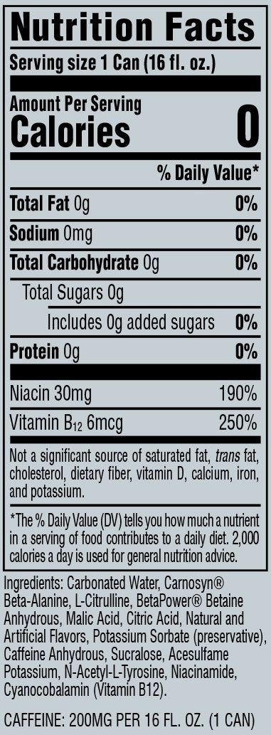 Cellucor - C4 Energy Cans Nutritional Information
