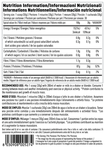 Nutritional information for PER4M Whey Isolate Zero