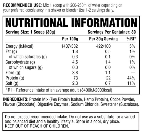 PER4M Vegan Protein Double Chocolate Nutritional Information