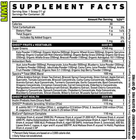 Ghost Greens Lime Flavour Nutrition Information