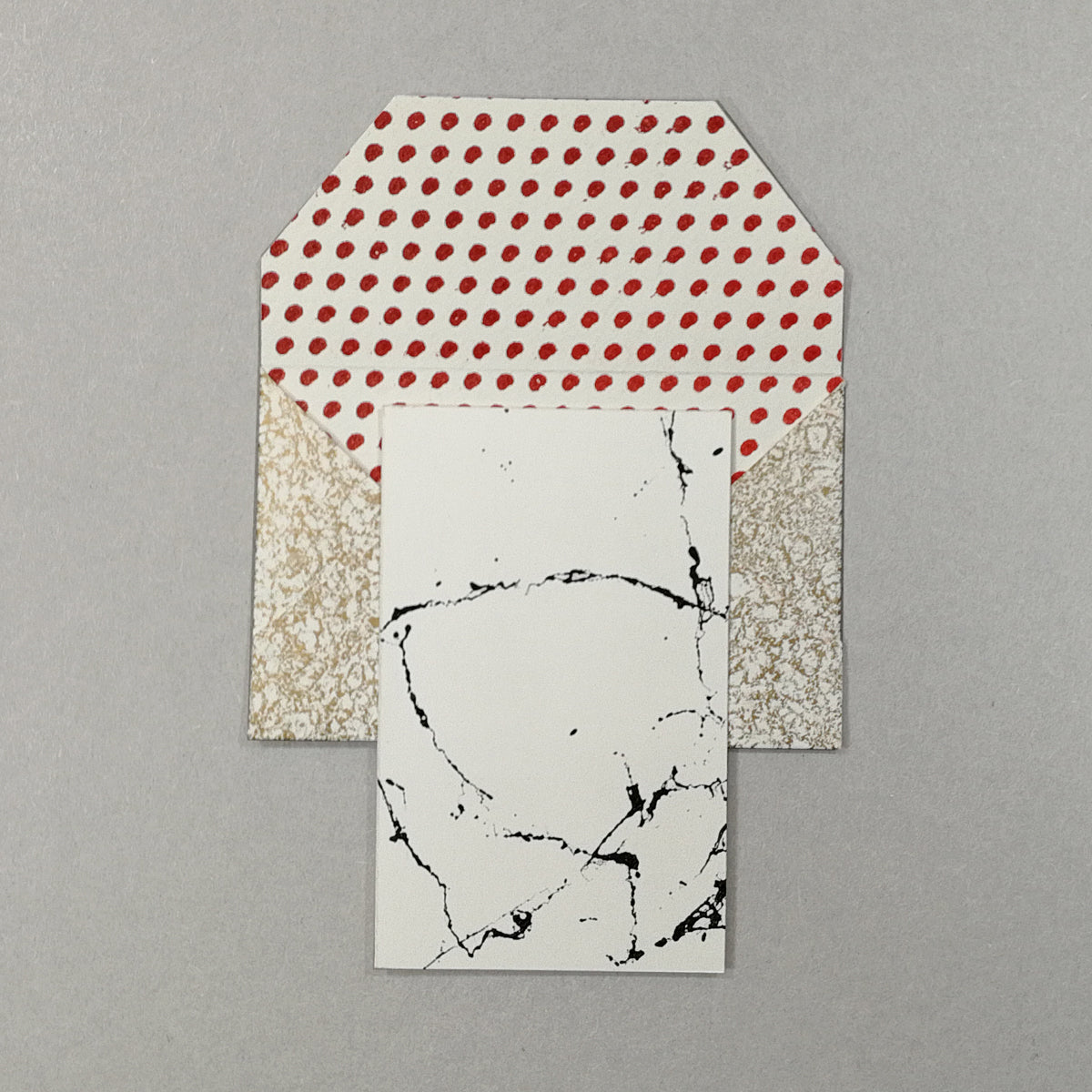 ROCOCO - 5 small hand printed envelope+card -
