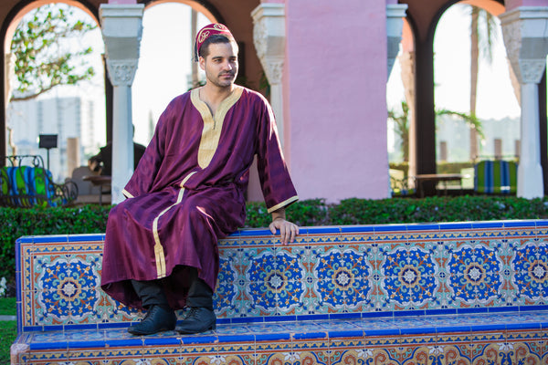 Men's Burgundy Kaftan