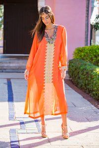 Women's Sheer Orange Kaftan