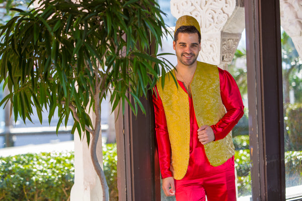 Men's Red Henna Attire