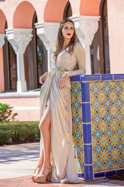 Women's Gold Modern Henna Dress
