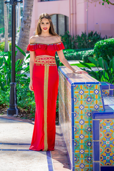 Women's Red Modern Two-Piece Henna Dress