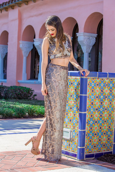 Women's Bronze Modern Two-Piece Henna Dress