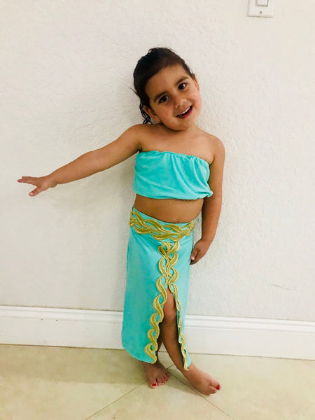 Girl Two-Piece Teal Henna Attire 2