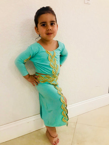 Girl Two-Piece Teal Henna Attire