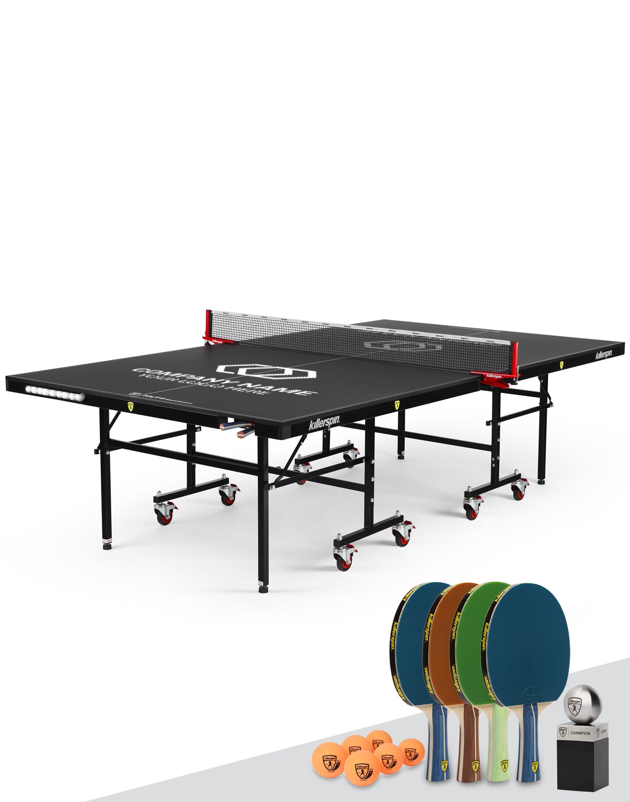 Killerspin MyT Ping Pong Table Indoor UnPlugNPlay Party Package MyT4 Black Pocket Custom Print